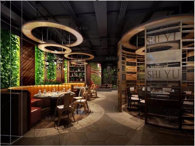 餐飲店面設計案例:食語餐廳裝修效果圖|836平